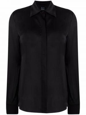 Черная рубашка косоворотка с потайной застежкой с воротником Carine Gilson