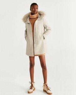 Пальто с капюшоном с мехом пальто Mango