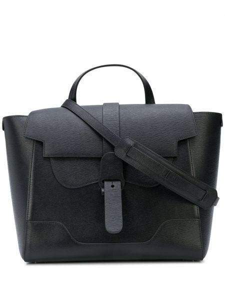 Czarna torebka skórzana klamry Senreve