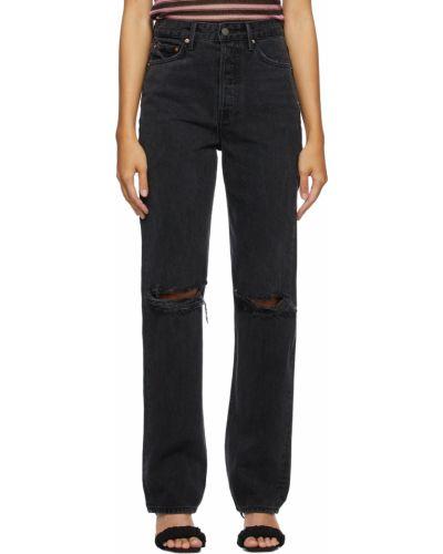 Czarne jeansy z paskiem srebrne Grlfrnd
