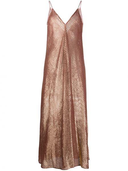 Расклешенное розовое платье в полоску Forte Forte