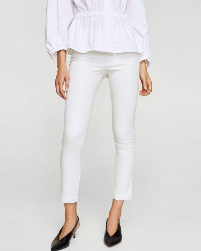 Белые хлопковые зауженные брюки Mango