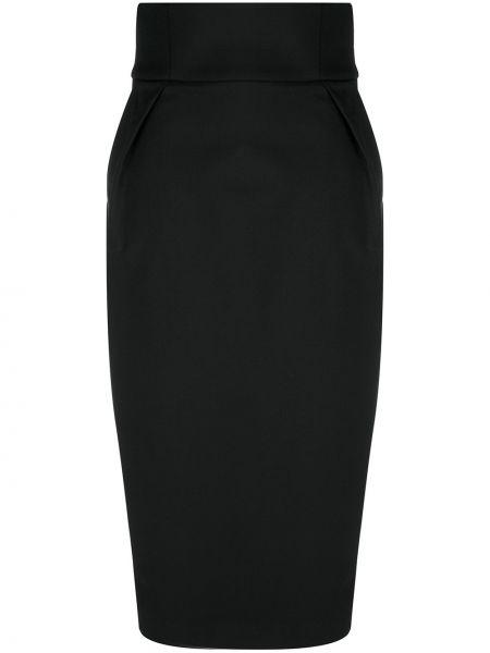 Шерстяная с завышенной талией черная юбка Alexandre Vauthier