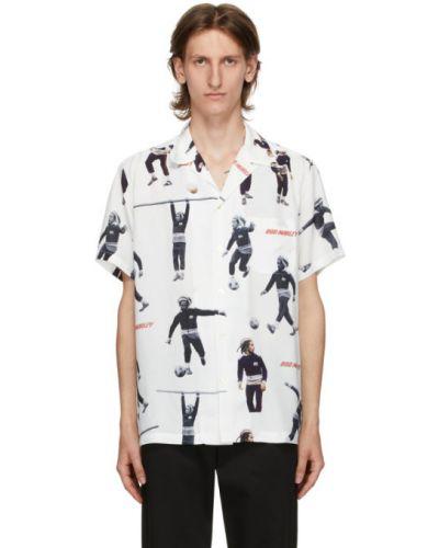Открытая рубашка с короткими рукавами с воротником с заплатками с карманами Wacko Maria