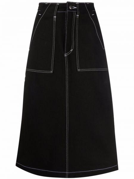 Джинсовая юбка миди - черная SociÉtÉ Anonyme