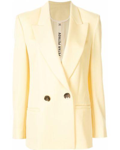 Желтая длинная куртка с манжетами Petar Petrov