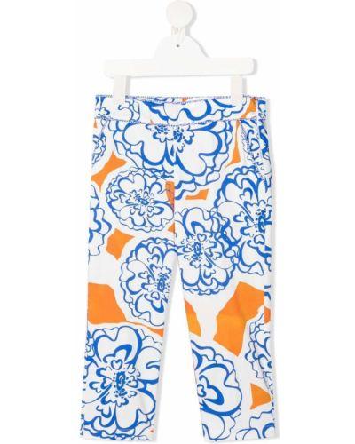 Niebieskie legginsy bawełniane z printem Mi Mi Sol