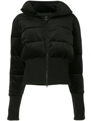Prążkowana czarna długa kurtka z długimi rękawami Unreal Fur