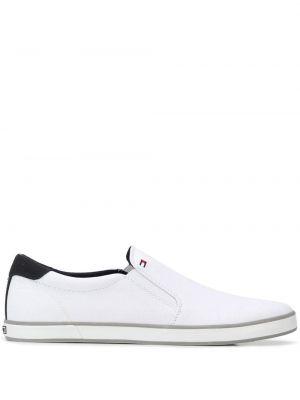 Слипоны белые на каблуке Tommy Hilfiger