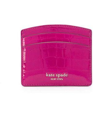 Кожаный кошелек золотой с логотипом Kate Spade