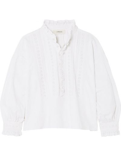 Хлопковая белая блузка на пуговицах The Great.