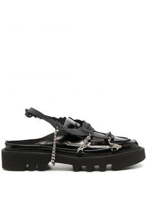 Czarne loafers skorzane klamry Rombaut