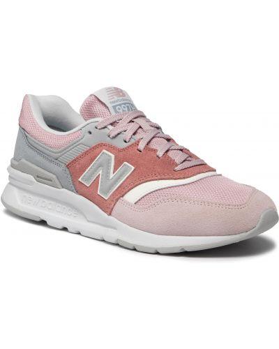 Buty sportowe skorzane - różowe New Balance