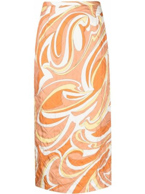Оранжевая юбка на молнии Emilio Pucci