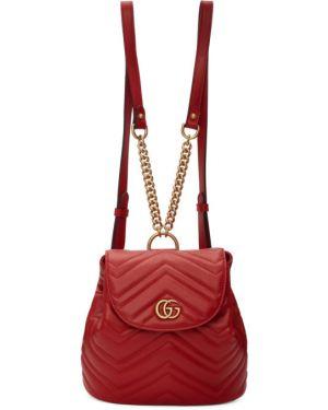 Skórzany plecak beżowy na ramieniu Gucci