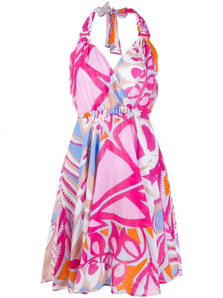 Платье с поясом с V-образным вырезом со складками Emilio Pucci