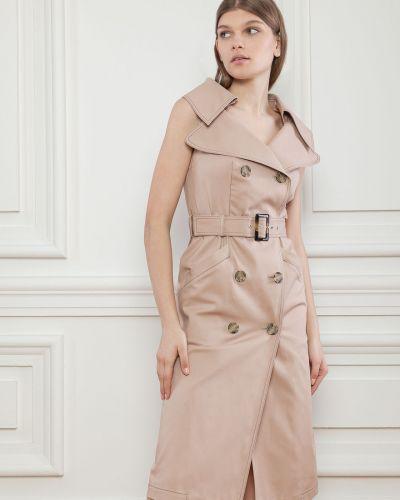 Хлопковое приталенное платье с карманами Dolcedonna