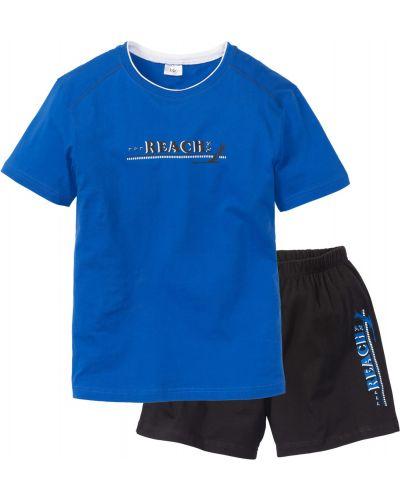 Синяя хлопковая пижама с шортами с вырезом Bonprix