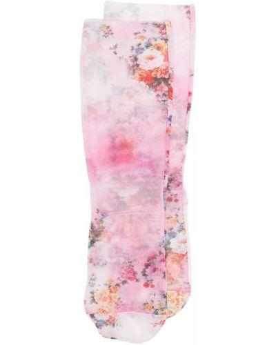 Розовые носки эластичные в цветочный принт Msgm