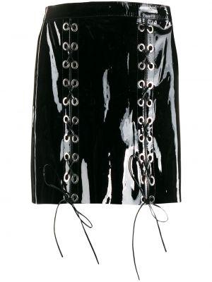 Облегающая лаковая черная юбка мини на молнии Manokhi