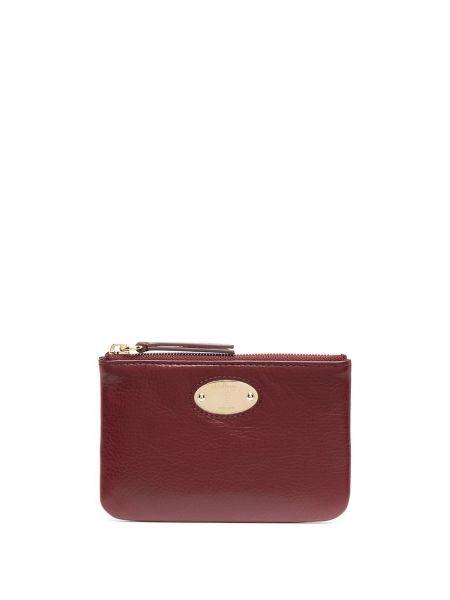 Красный кожаный кошелек для монет Mulberry