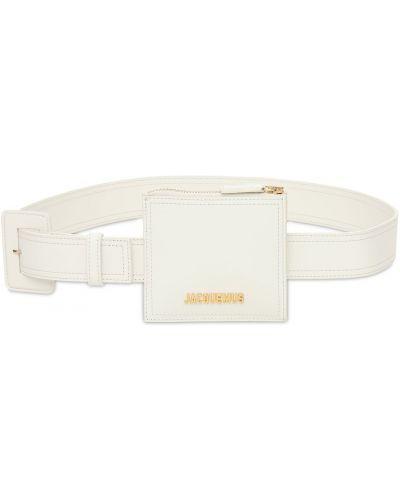 Кожаная белая поясная сумка на молнии Jacquemus