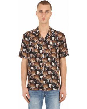 Brązowa klasyczna koszula krótki rękaw z wiskozy Triple Rrr