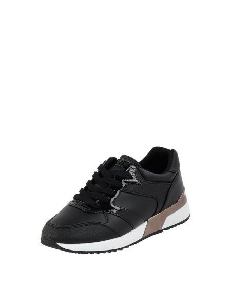 Wbudowany czarny włókienniczy sneakersy z logo Guess