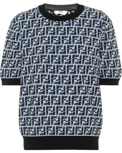 Niebieski bawełna top z wiskozy Fendi