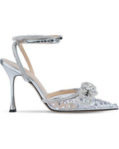 Серебряные кожаные туфли-лодочки на каблуке Mach & Mach