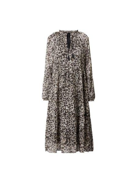 Sukienka rozkloszowana z wiązaniami - beżowa Ilse Jacobsen