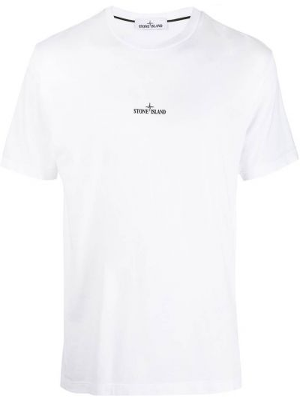 Хлопковая футболка - белая Stone Island Junior