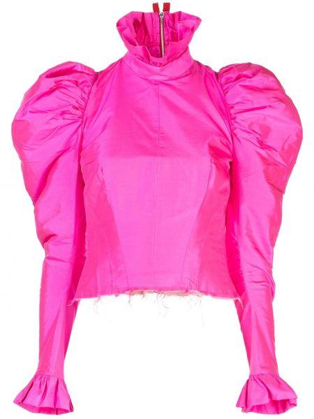 Розовая приталенная блузка с оборками Dilara Findikoglu
