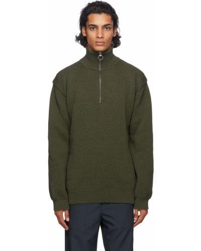 Zielony długi sweter z długimi rękawami Nanamica