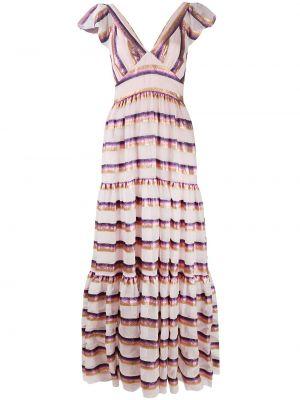 Шелковое розовое платье макси с V-образным вырезом на молнии Temperley London