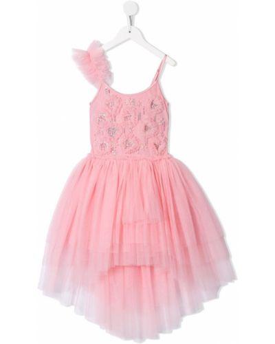 Розовое пышное платье из фатина с вырезом на бретелях Tutu Du Monde