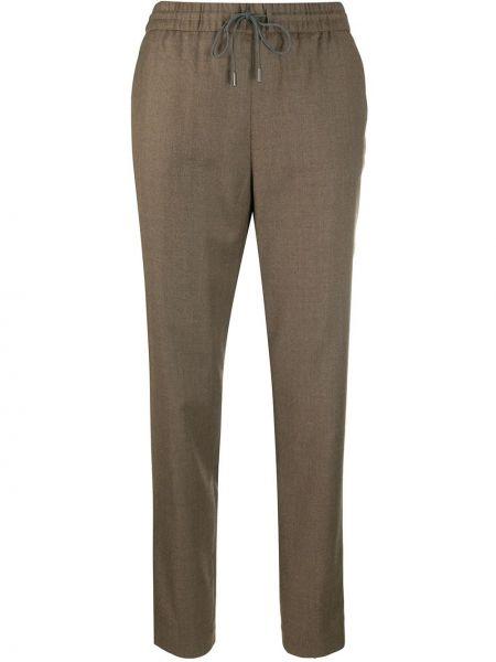 Шерстяные облегающие коричневые брюки Fabiana Filippi