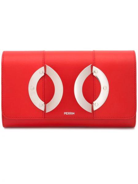 Красный кожаный кожаный кошелек Perrin Paris