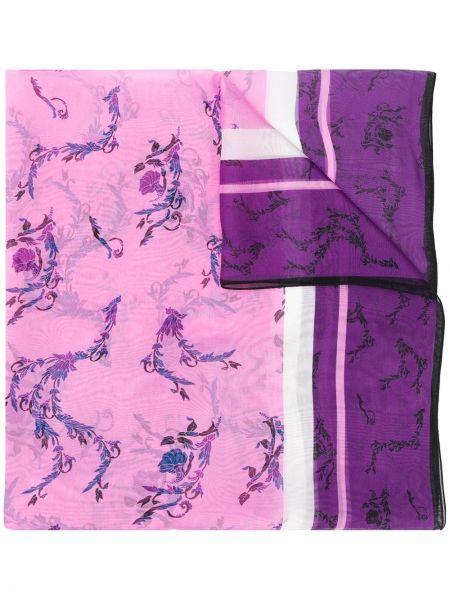 Платок фиолетовый с цветочным принтом Escada Sport