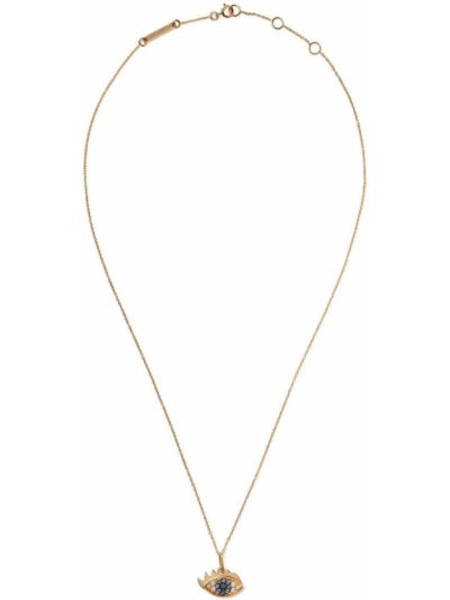 Czarny złoty naszyjnik z diamentem Delfina Delettrez
