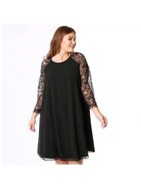 Черное платье миди оверсайз с короткими рукавами с круглым вырезом Lovedrobe