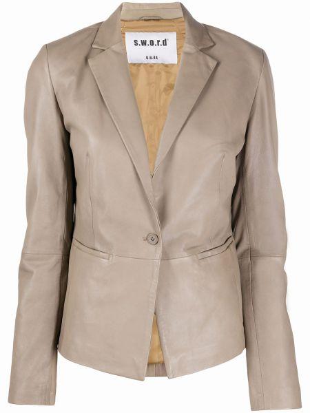 Серый кожаный пиджак с карманами S.w.o.r.d 6.6.44