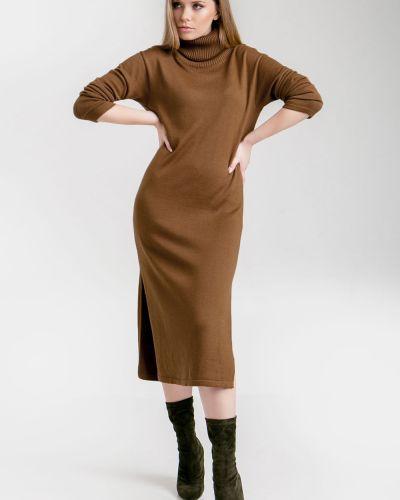 Вязаное платье миди из альпаки свободного кроя с разрезом Cardo