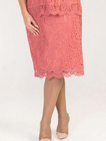 Юбка карандаш розовая прямая Luxury Plus
