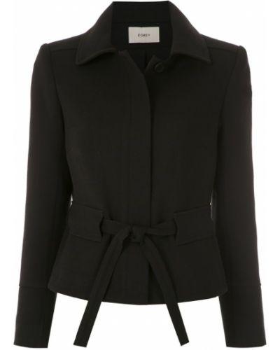 Прямая черная длинная куртка Egrey