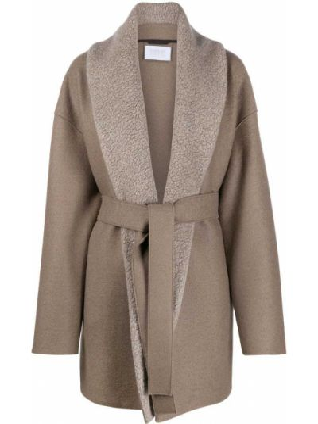 Шерстяное пальто с воротником с запахом с поясом Harris Wharf London