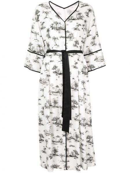 Платье миди на пуговицах с разрезами по бокам свободного кроя с рукавом 3/4 Loveless