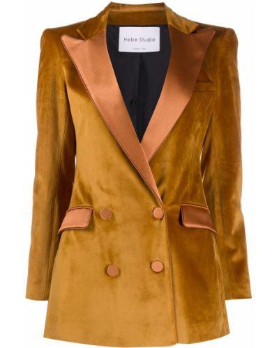 Сатиновый желтый классический пиджак на пуговицах двубортный Hebe Studio