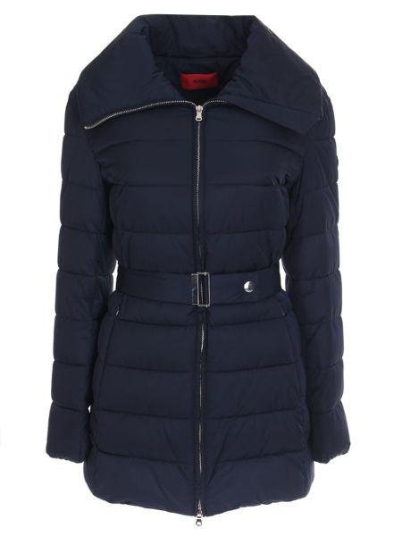 Теплая синяя утепленная куртка на молнии с воротником Hugo