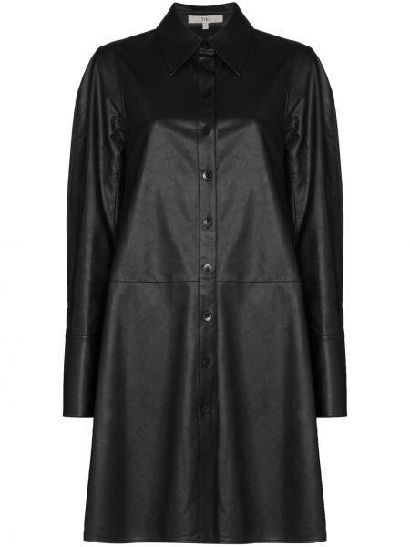 Skórzany czarny sukienka z kołnierzem z mankietami Tibi